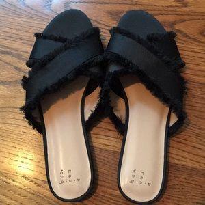 Never worn! Black satin slides